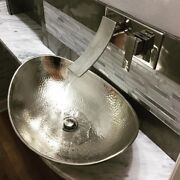 Hand-hammered Nickel Above Counter Vessel Sink Oval Boat Shape Textured Silver