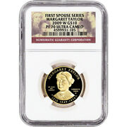 2009-w Us First Spouse Gold 1/2 Oz Proof 10 - Margaret Taylor Ngc Pf70