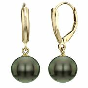 Pearl 14k Yellow Gold Leverback Earrings9-10mm Cultured Round Black Tahitian