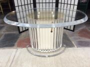 Mid Century Modern Hollywood Regency Lucite Glass Coffee Table Adjustable Height