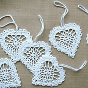 Crochet Baubles Christmas Tree Decorations Hanging Ornaments 1 Set Of 10 Heart