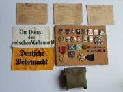 Wwii Lot, German Arm Bands,ration Books, Medals,unit Crest Pins, Militaria, More