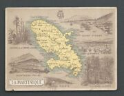 Map Card Martinique St-pierre Fort France Coffee 1890s