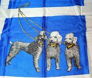 Vintage Poodle Scarf Bright Blue And White 3 Dogs On Leash 30 Square Arko