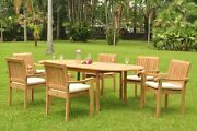 7-piece Outdoor Teak Dining Set 94 Oval Extn Table 6 Stacking Arm Chairs Napa