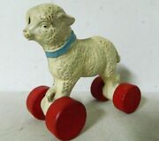 Maryand039s Little Lamb Pull Along Toy On Wheels Circa 1940and039s Hubley Huboid