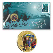 Australia 2016 Christmas Three Wise Men Pnc Stamp And 1 Unc Coin Cover