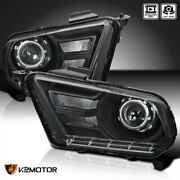 Fits 2010-2014 Ford Mustang Black Retrofit Style Projector Headlights Left+right