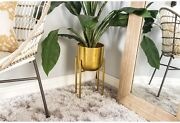 Set Of 2 Gold Iron Planters W/stands Decorative Plant Flower Holder Display