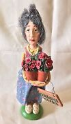 Antique Vintage Handmade Woman Doll Holding Flower Pots And Garden Club Sign