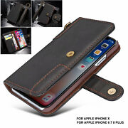 For Iphone 12 11 Pro Xs Max Xr 8 Genuine Uja Leather Flip Wallet Card Case Cover
