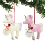Department 56 H8 Christmas Snowpinions Standing Unicorn 4in Ornaments 2pc