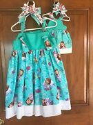 Childrens Disney Sofia The First Dress With Matching Bow And Doll Dress