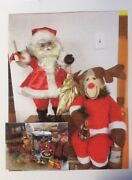 '80's Vintage Animated Santa Claus And Rudolph W/ Assorted Christmas Ornaments....