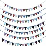 10 Pc Colorful Fabric Bunting Pennant Flags Banner Party Wedding Christmas Lot