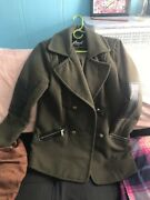 Peacoat Jacket Womens - Military Green And Gold Accents - Medium