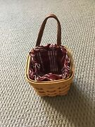 Longaberger Chives Booking Basket With Classic Stripe Liner