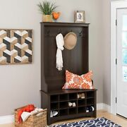 Entry Hall Tree Coat Rack With Shoe Storage Bench Entryway Wood Furniture