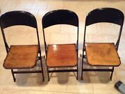 3-clarin Mfg. Antique Metal And Wood Folding Chairs
