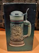 Vtg Ceramic '78 Sporting Beer Stein Decanter Hunting Setter Fishing Trout W/ Box