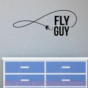 Fly Guy Vinyl Art Decals Fisherman Boys Room Decor Fishing Wall Stickers Quotes