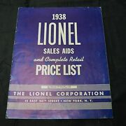 1938 Lionel Sales Aids And Complete Retail Price List - White Lettered - Vgc