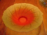 Large 16 1/2 Wonderful 2 Color Whimsical Art Glass Bowl With Sun Rays And Faces