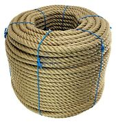 30mm Natural Jute Rope X 50 Metres 4 Strand Twisted Cord Decking Garden Boating