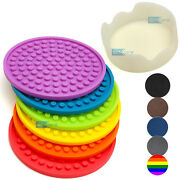 Enkore Rainbow Silicone Drink Coasters Set Of 6 In Holder - Protect Furniture