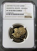 2007 Mw Gold Poland Ngc Proof 70 Ultra Cameo 200 Zlotych Municipal Rights Coin