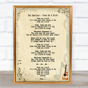 The Beatles Free As A Bird Song Lyric Quote Print