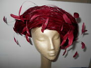 Vintage Jack Mcconnell - New York - Red Church Hat Feathers W/ Rhinestones