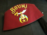 Collectible Boumi Temple Hat Cap Fez With Tassel Masonic Shriner Fraternity Pin