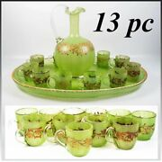 Antique French Napoleon Iii Cabaret, Green Opaline And Raised Gold Carafe, Tray +