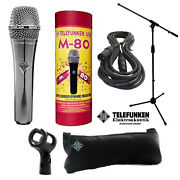 Telefunken M80 Dynamic Microphone Chrome + 20ft Xlr Cable And A Mic Stand
