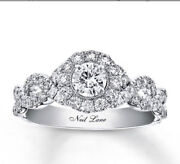 Neil Lane Halo Engagement Ring In 14k White Gold Size 5 1/4 + Can Be Resized