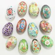 Set Of 12 1 Dozen Colorful Paper Mache Eggs Hand Crafted Easter Spring Decor