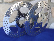 For Harley 1984-up 11 1/2 Polished Stainless Star Brake Rotor Front And Rear