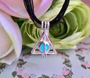 Harry Potter And The Deathly Hallows Locket With Blue Glowing Orb Necklace
