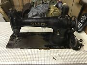 Antique Singer Model 96-10 Sewing Machine With Table, Motor, And Pedals