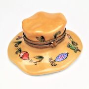 Rare Fly Fisherman's Limoges Trinket Box W/ Frog Clasp, Lures And Bait-signed