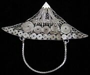 Antique Sterling Silver Asian Filigree Figural Abstract Face Wearing Hat Pin L1