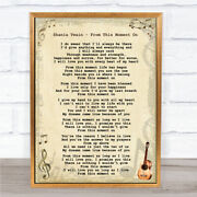 Shania Twain - From This Moment On Song Lyric Guitar Quote Print
