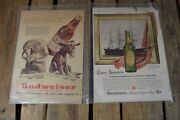 Two Vintage Beer Magazine Ads Budweiser Political And Ballantine's Clipper Ship