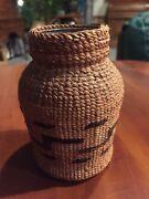 Southeast Alaska Indian Pacific Nw Grass Embroidery Basketry Over Glass Bottle
