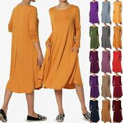 Themogan Women And Plus Long Sleeve A-line Fit And Flare Midi Long Dress W/ Pockets
