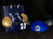 New Disneyland Club 33 - 50th Anniversary Blue Mickey And Minnie Mouse Ears