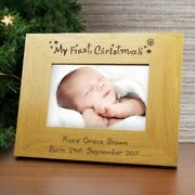 Personalised And039my First Christmasand039 Wooden Photo Frame - Babyand039s 1st Xmas Photo
