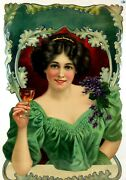Gorgeous Late 1800s Antique German Wine Flower Lady Large Embossed Print Poster