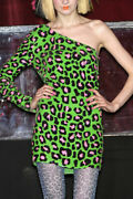 Ashish Sequined Asymmetric One-shoulder Leopard Neon Green Dress Rare Beauty